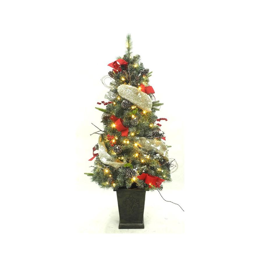 5-ft Pre-Lit Twig Flocked Artificial Christmas Tree with White LED Lights