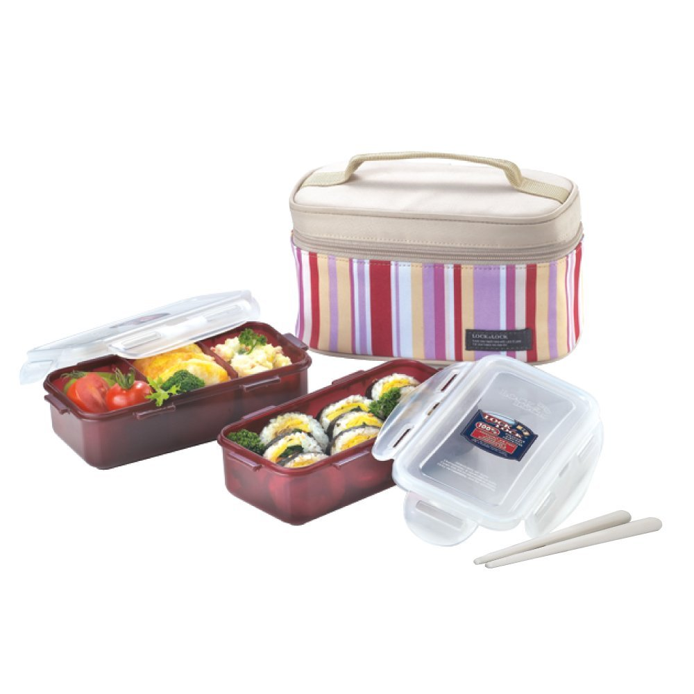 Lock&Lock Rectangular Pink Lunch Box BPA Free Food Containers