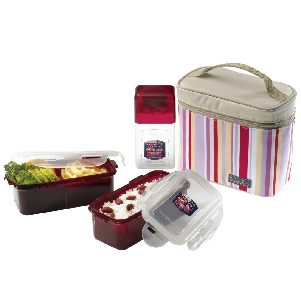 Lock&Lock Rectangular BPA Free 3-Piece Lunch Box Set w/ Insulated Cup