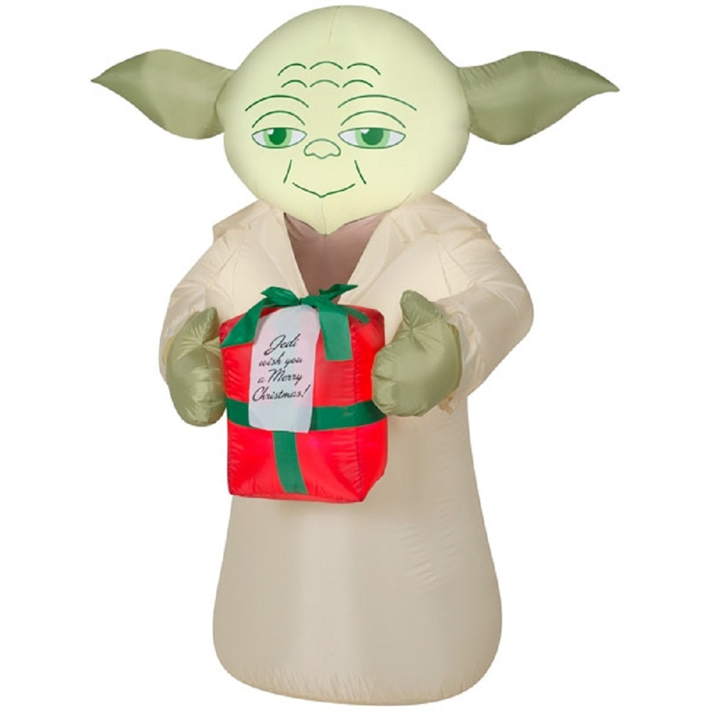 Star Wars Yoda With Present Gift Gemmy Airblown Inflatables Christmas