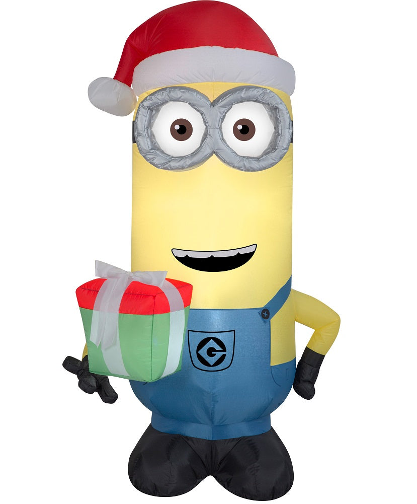 Despicable Me Minion 5' Inflatable Kevin with Present Gift and Santa Hat