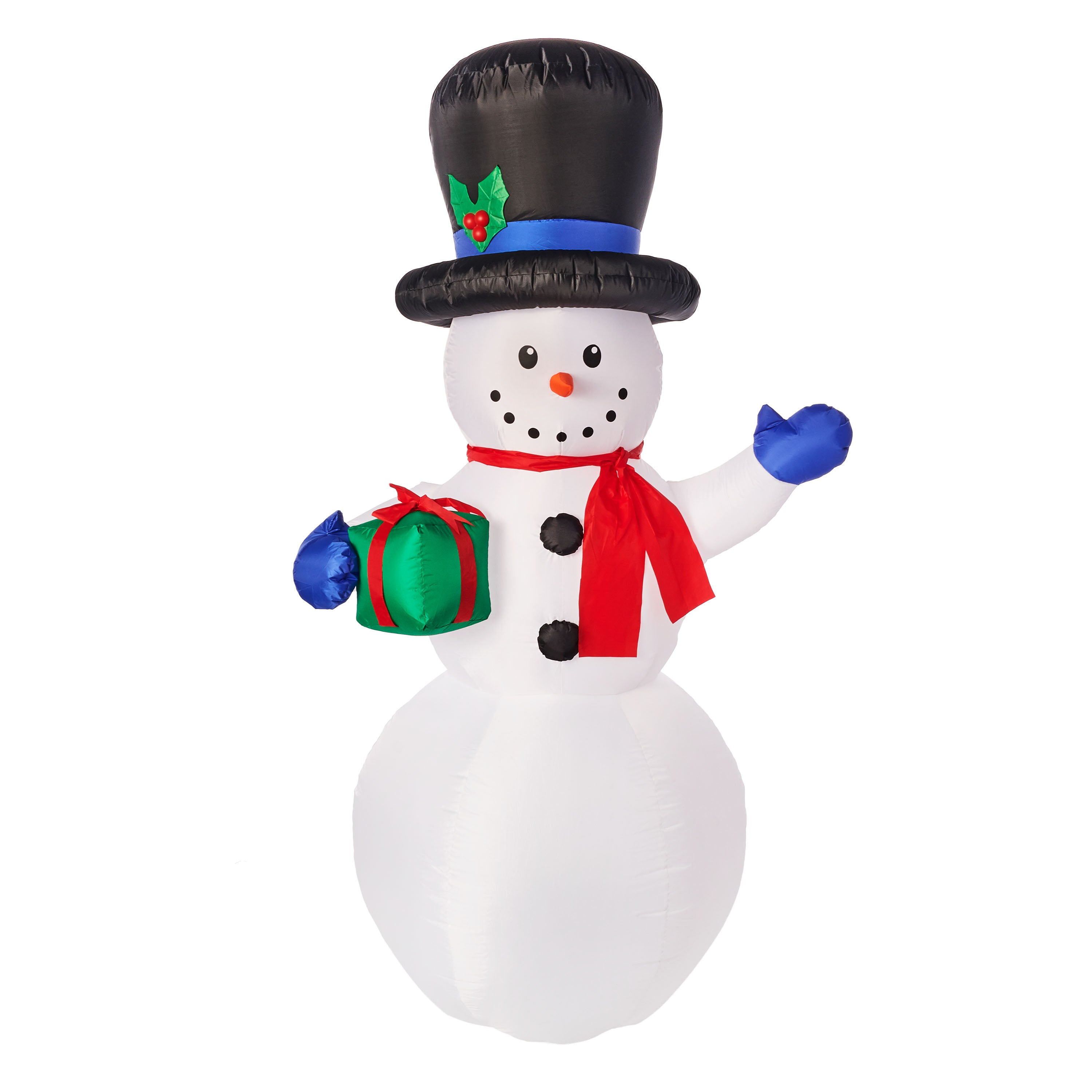 Gemmy Christmas AIRBLOWN Inflatable Snowman With Gift 7 FT Tall White