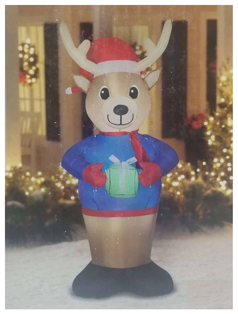 Holiday Time Reindeer with Gift Airblown Inflatable 7 FT Tall