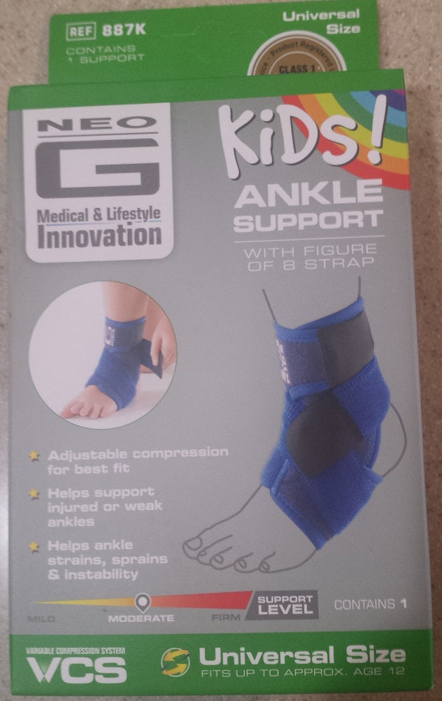 f3e4a7aec6 ... Blue Neo G Kids! Ankle Support with Figure of 8 Straps, Universal Size,  ...