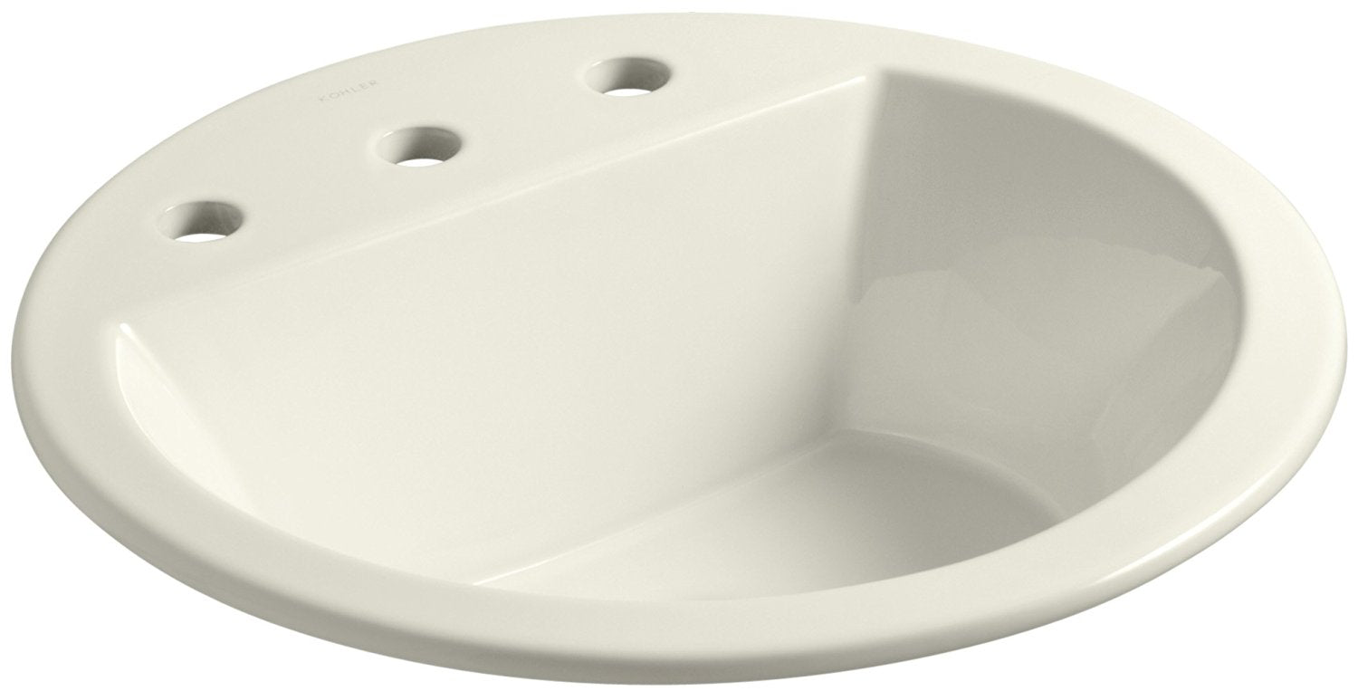 "KOHLER K-2714-8-96 Bryant Round Self-Rimming Bathroom Sink with 8"" Centers, Biscuit"