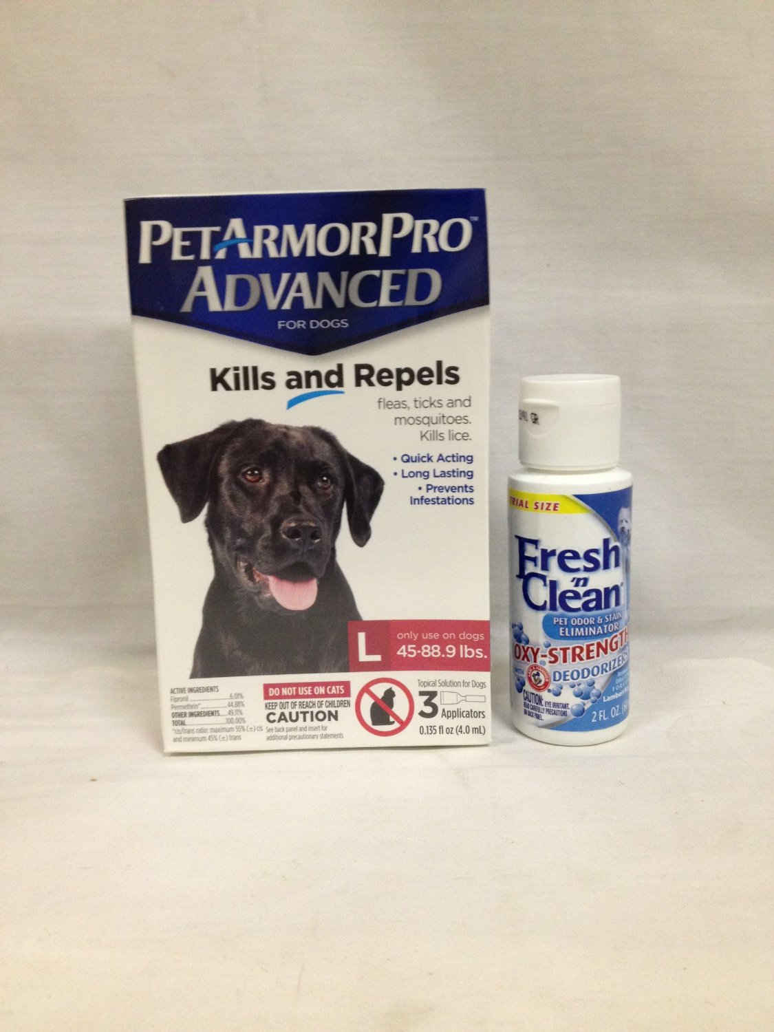 Pet Armor Pro Advanced Large 45 88 lbs 3 Pack Plus 1 Container Fresh N Clean Oxy Odor Stain Remove 2OZ