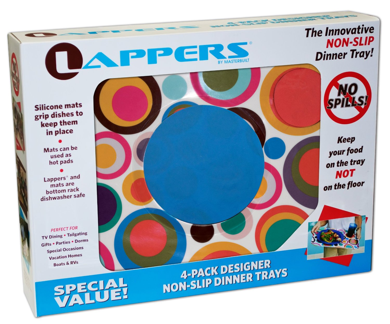 Lapper Trays with Circular Patterns Plus Non-Slip Plate and Cup Pads, 4 Trays Per Package