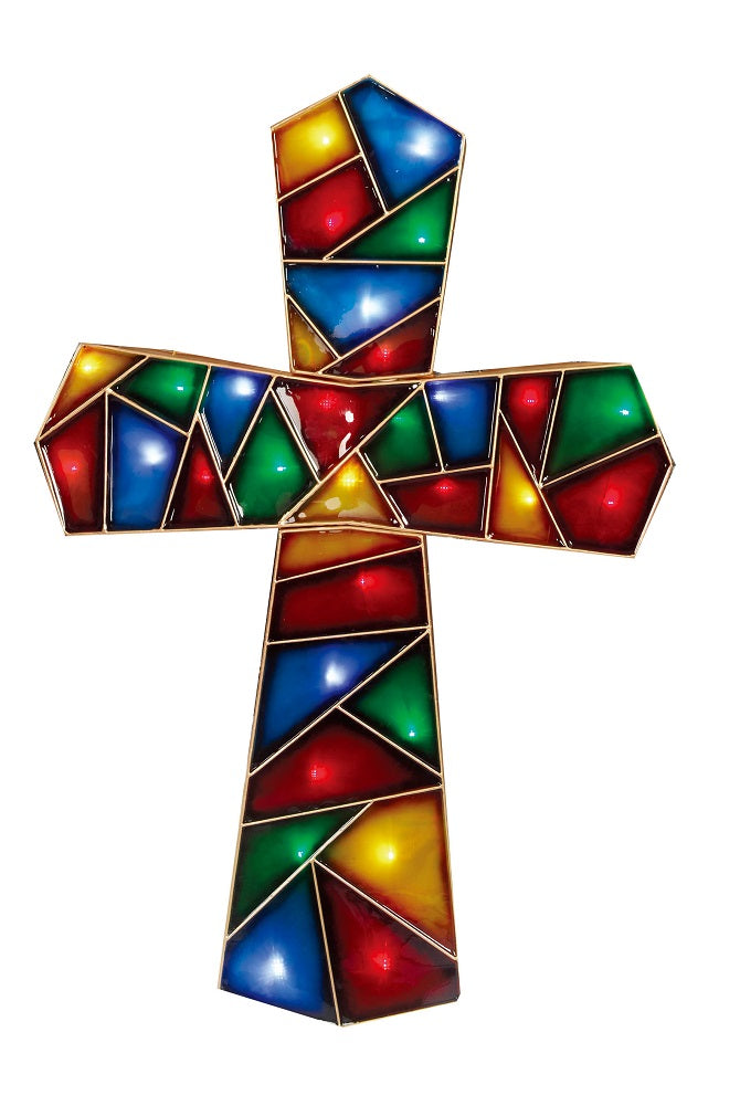 "Holiday Time 48"" Lighted LED Prismatic Cross Christmas Sculpture Garden Outdoor Decoration"