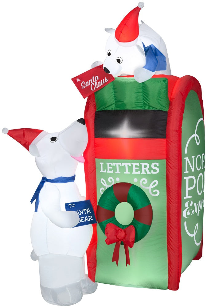 6' Airblown Inflatable Mailbox and Polar Bear Scene Holiday Time