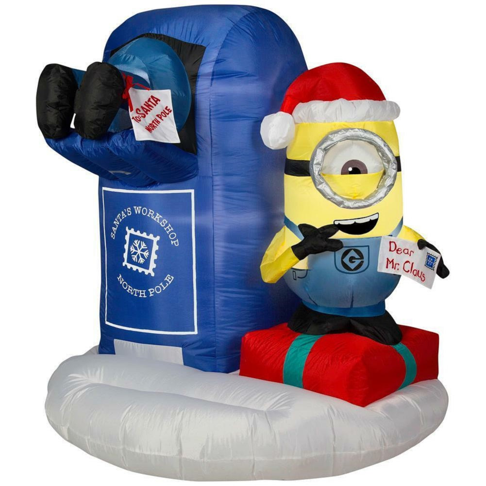 Home Accents Minion Scene Stuart Mailing Letter to Santa Mailbox 53 Tall Inflatable Yard Display China