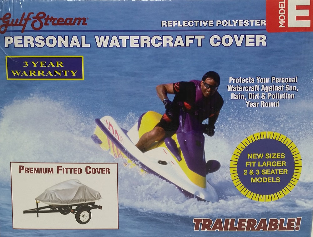 "Personal Watercraft Cover Fits 3 Seater Model E 133"" x 49"" x 40"" - SIlver"