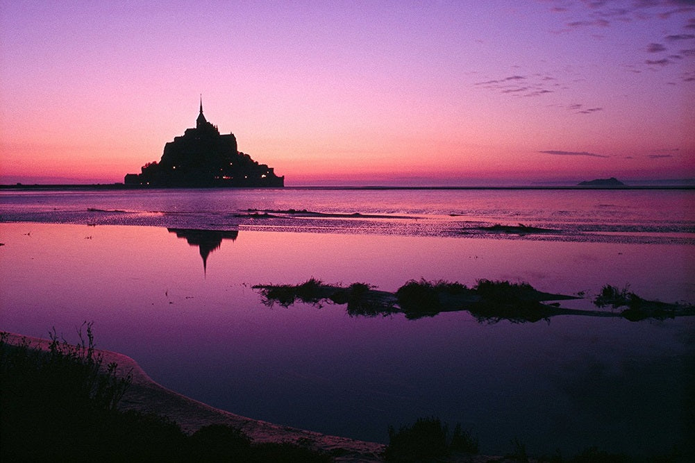National Geographic Mount Saint-Michael Sunrise Reflection of Castle Poster