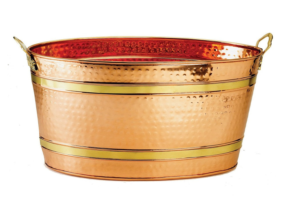 Old Dutch Oval Decor Copper Party Tub, 22-1/2 by 13 by 11-1/2-Inch