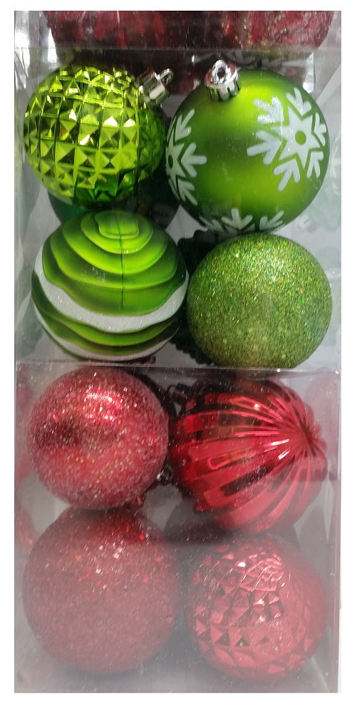 Red /& Green 52-piece Set Shatter Resistant Ornaments