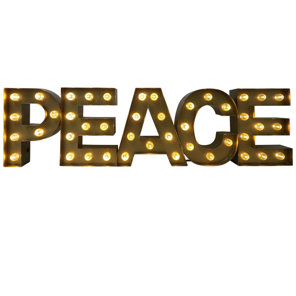 Extra Large Lighted Gold Metal PEACE Marquee Sign Battery Operated