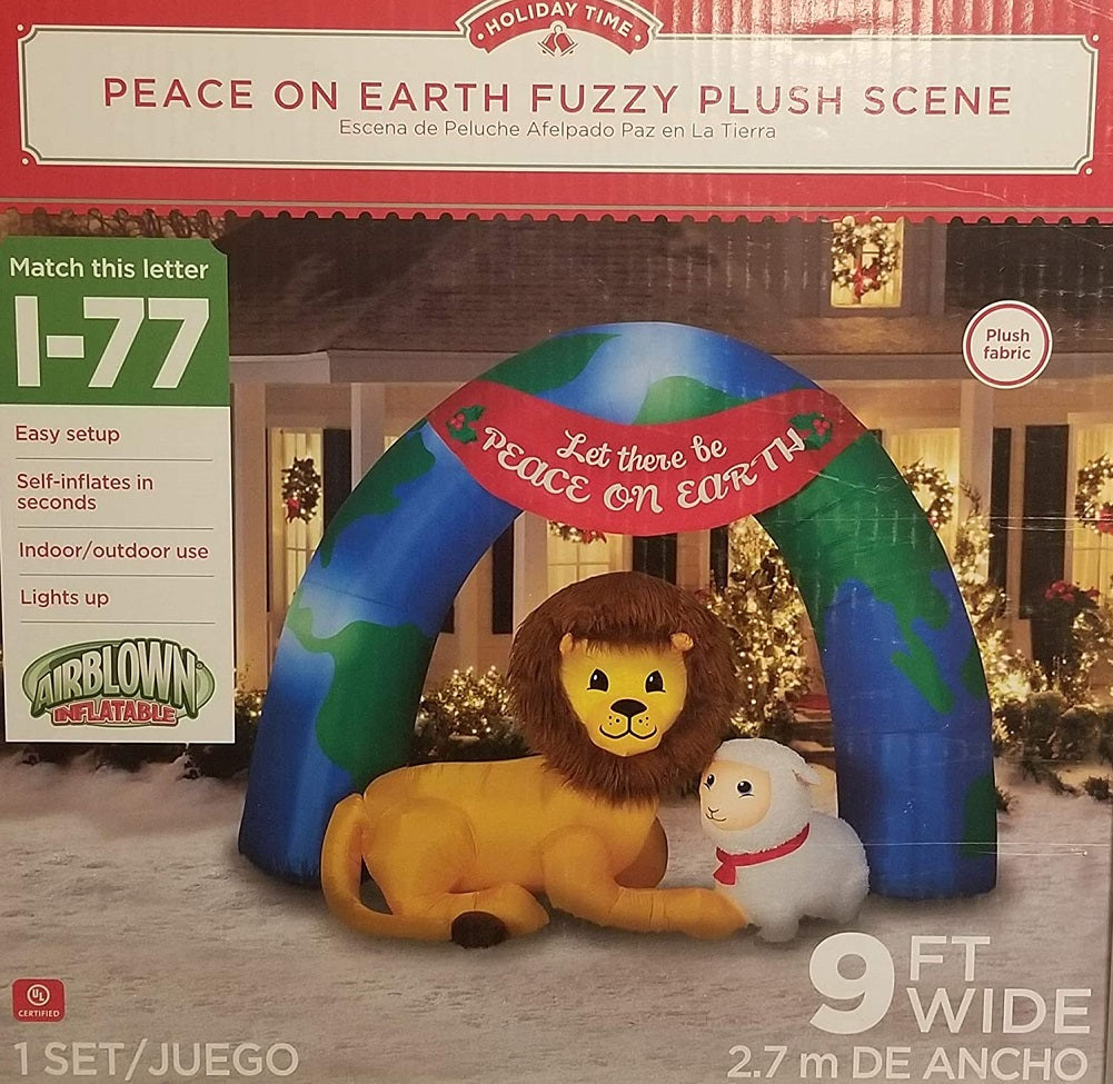 Holiday Christmas Peace On Earth Fuzzy Plush Scene 9 ft Lighted Inflatable Air Blown Time