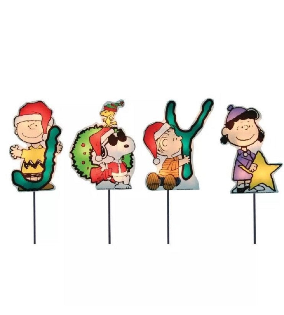 Set of 4 Pre-Lit JOY Peanuts and Snoopy Christmas Pathway Markers - Clear Lights ProductWorks