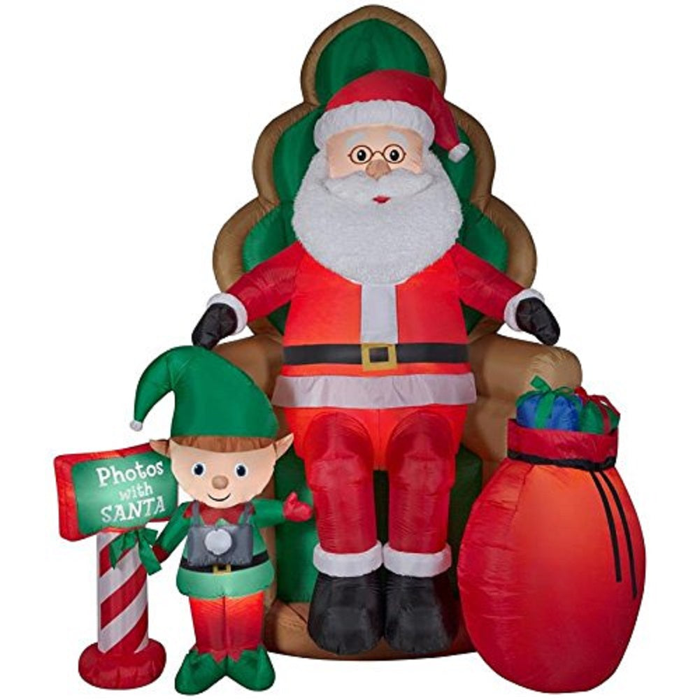Airblown Inflatable Santa with Elf - Photos with Santa 10Ft!