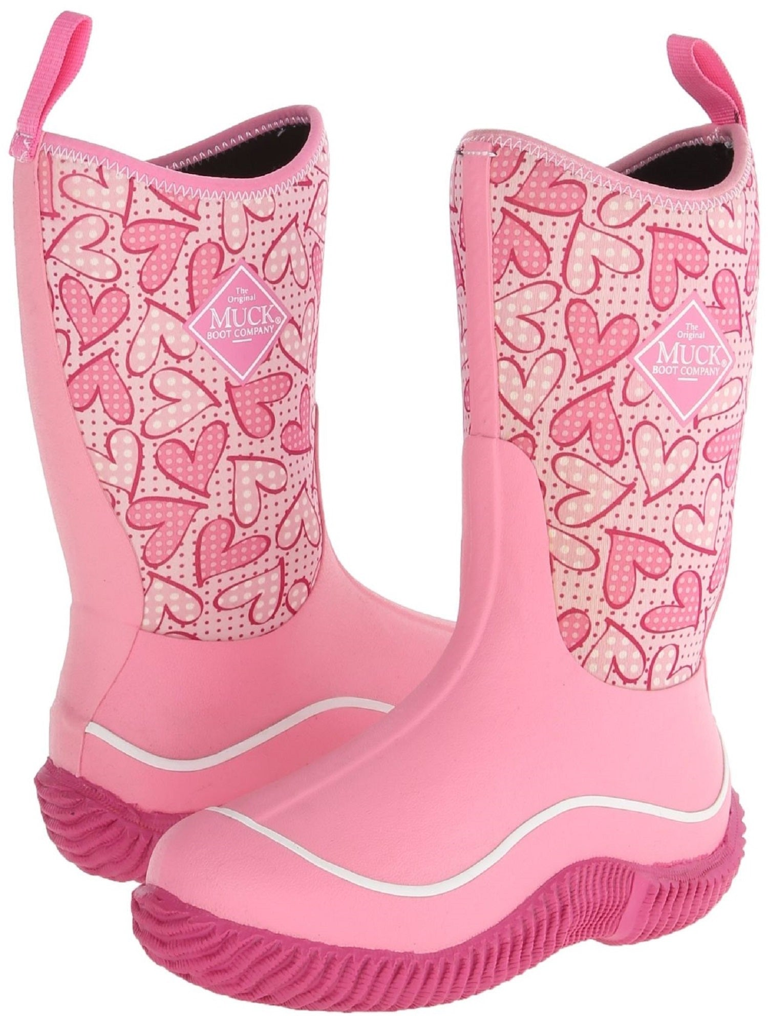 MuckBoots Kid Hale Pink Heart Outdoor Sport Boot, Size 13
