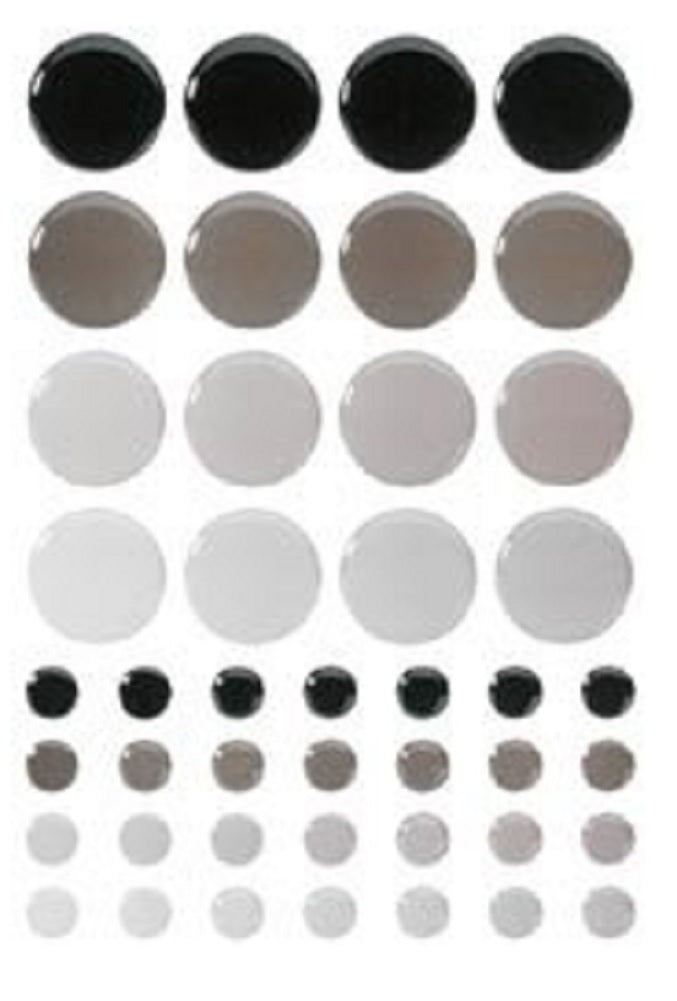 New Sticko Tiles Play Stickers-Black & grey Circles Scrapbooking