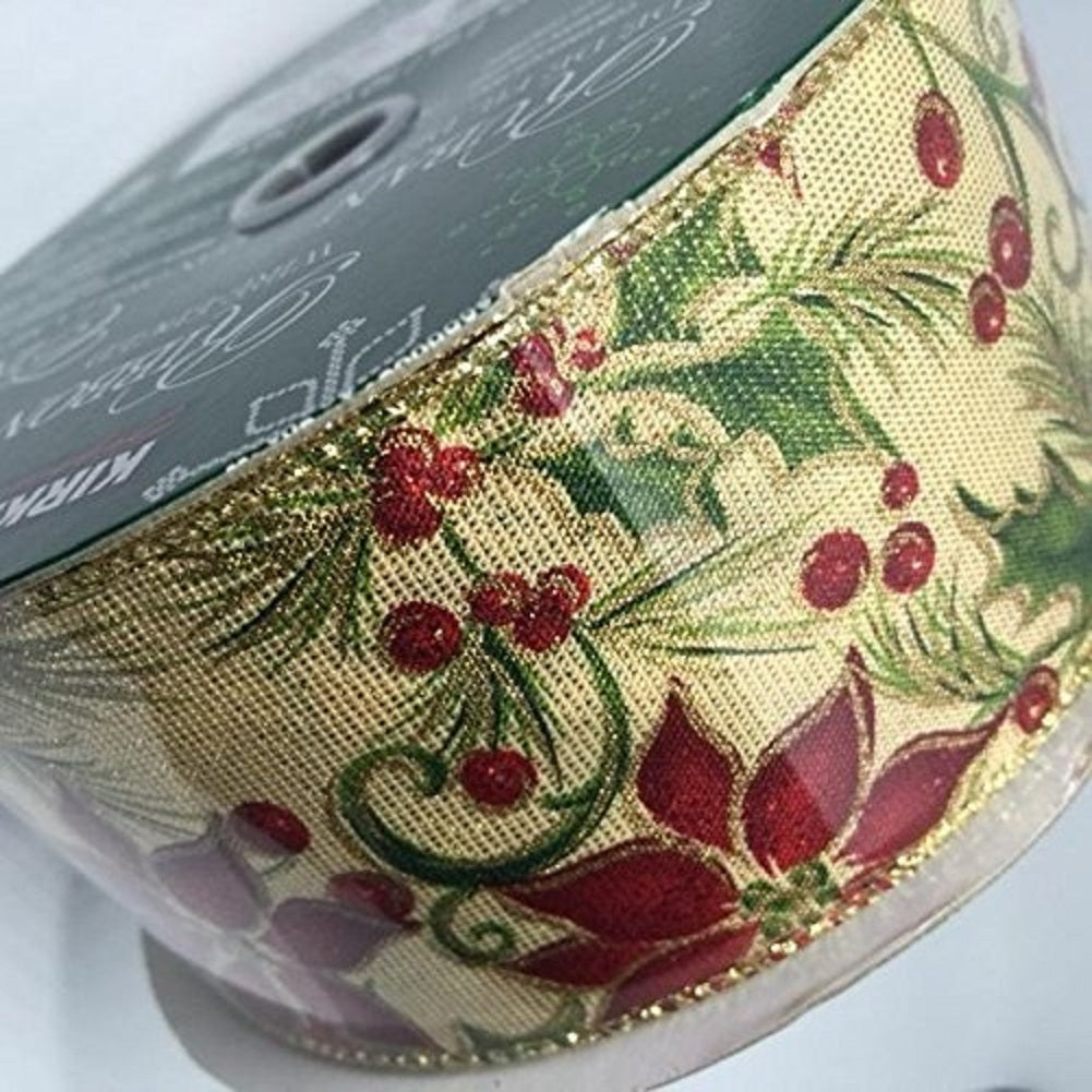 Kirkland Signature Wire Edged Ribbon Poinsettia Christmas Flower and Holly 50 yards 2.5 inches