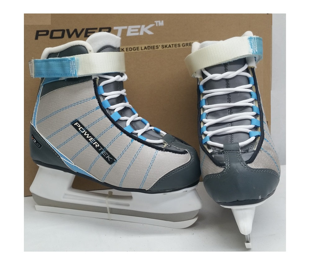 Powertek V3.0 Tek Edge Ladies' Figure Ice Skates Grey/Sky JR 2