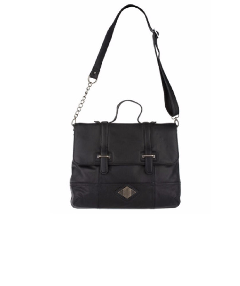 Luxe Rachel Zoe Leather Medium Flap Crossbody Satchel, Black
