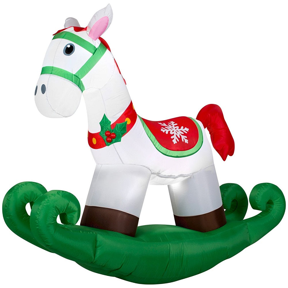 6 Ft LED Rocking Horse Airblown Inflatable Home Accents Holiday