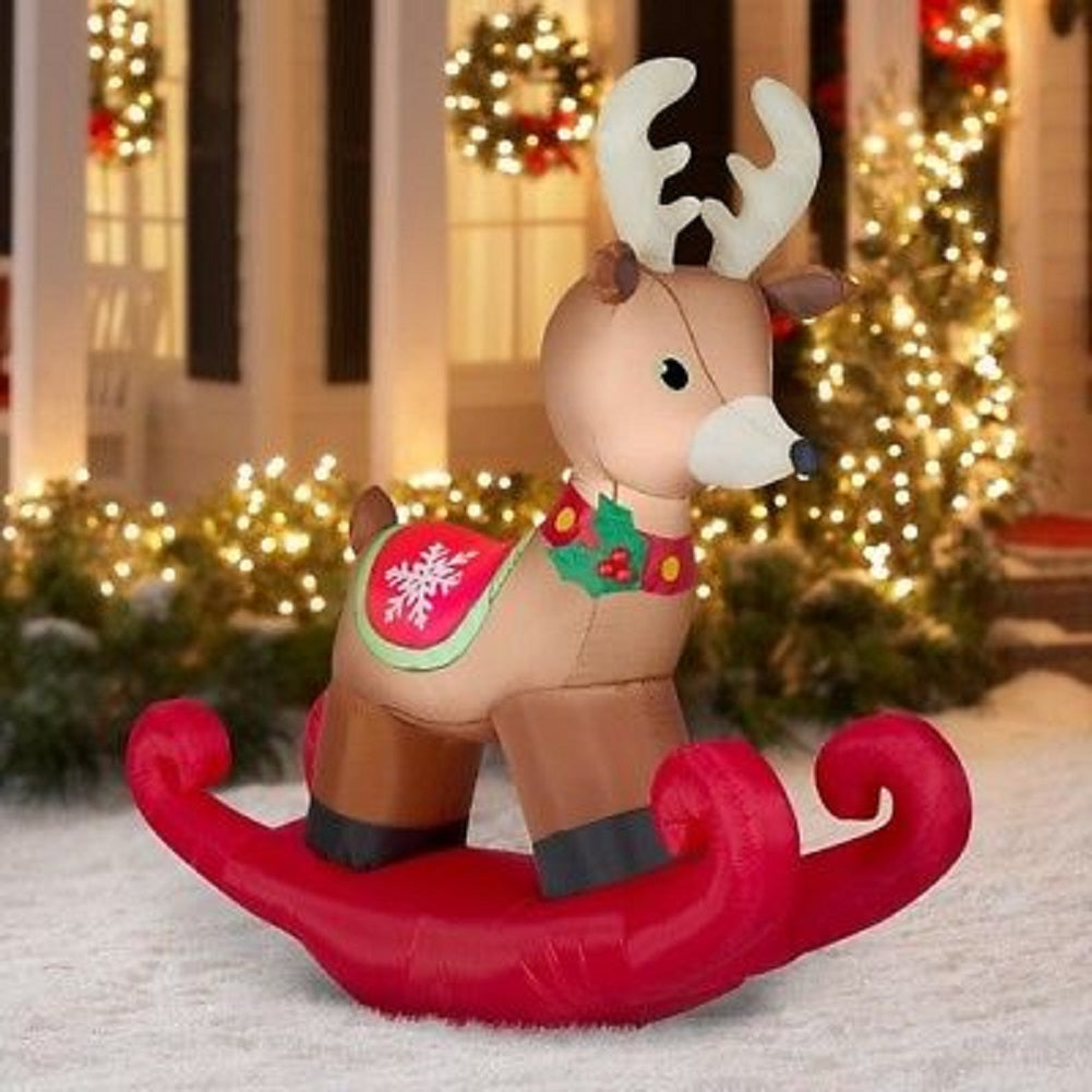 Gemmy 6' Airblown Rocking Reindeer Christmas Inflatable Holiday Time