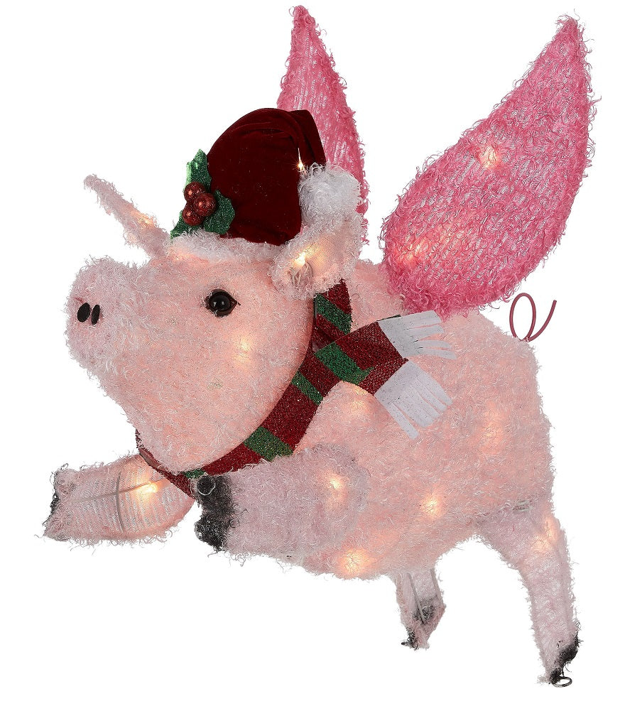 "Holiday Time Light-up Outdoor 26"" Flying Pig Christmas Decoration"