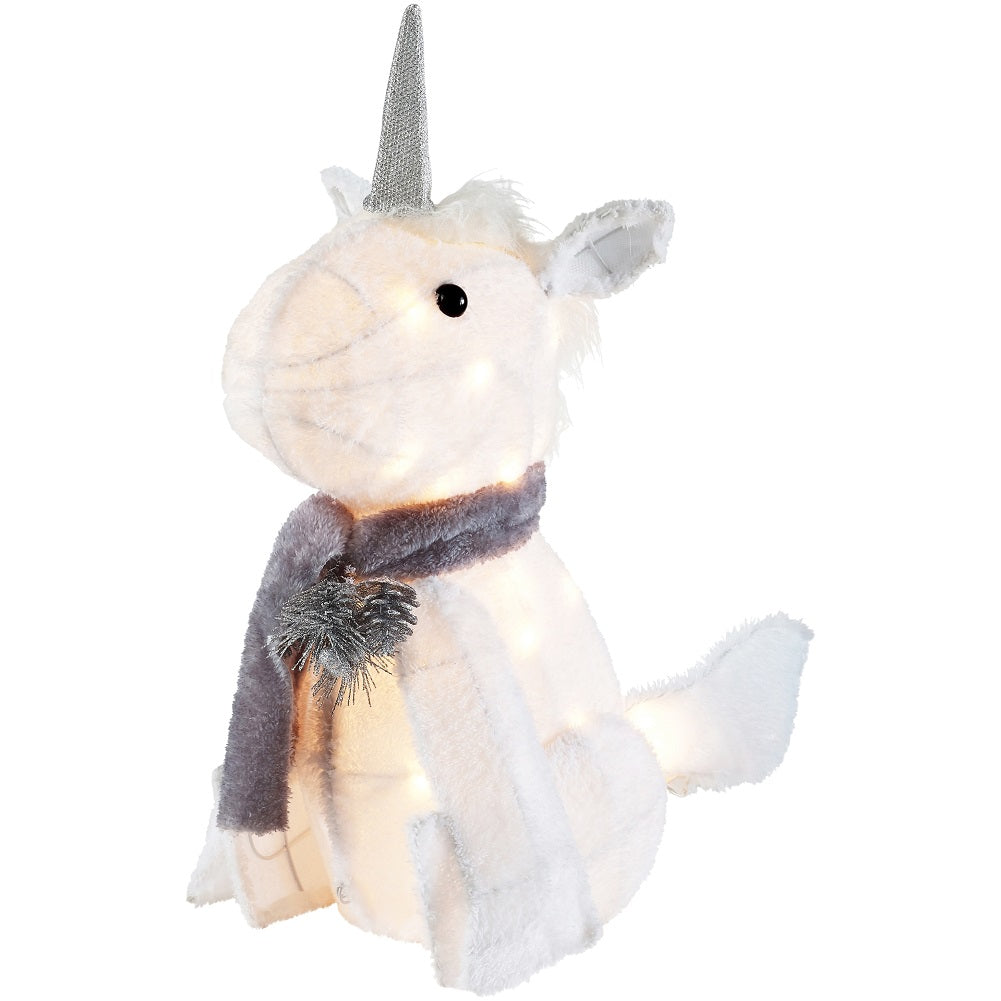 Holiday Time 20-Inch Light-Up Plush Unicorn Gray & Cream with 20 Lights