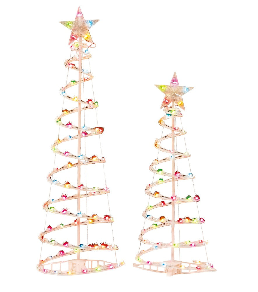 Holiday Time 3 and 4 Lighted Spiral Christmas Tree Sculptures Multi Color Lights 2 Pack