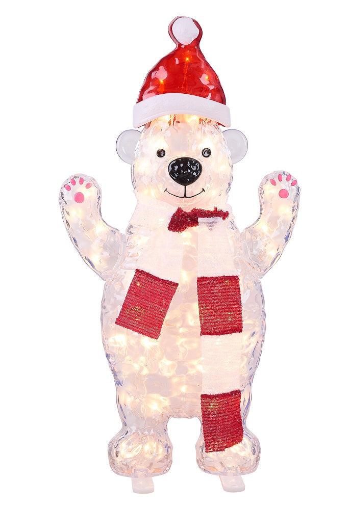 "Holiday Time Light-up Standing Icy Polar Bear Decoration, 30"" Tall"