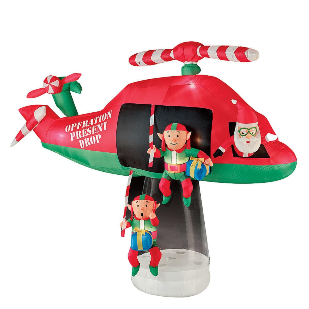 13' Animated Airblown- Santa and Elves in Helicopter Scene