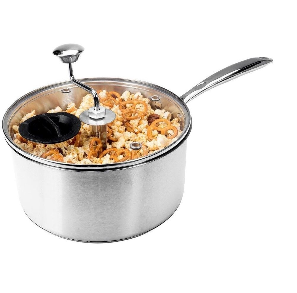 Zippy Snack Perfection Pop Stainless Steel Stovetop Popcorn Popper, 5.5 Quart
