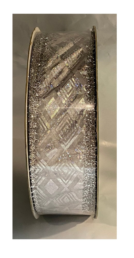 "Kirkland Signature Silver Diamond Shaped on White Ribbon Wired Edge 1.5"" 50 Yards"