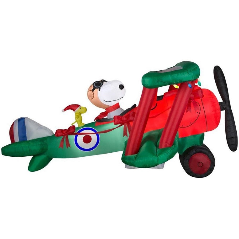 Airblown Peanuts 12' Snoopy Flying Ace Woodstock Christmas Inflatable Outdoor Decor