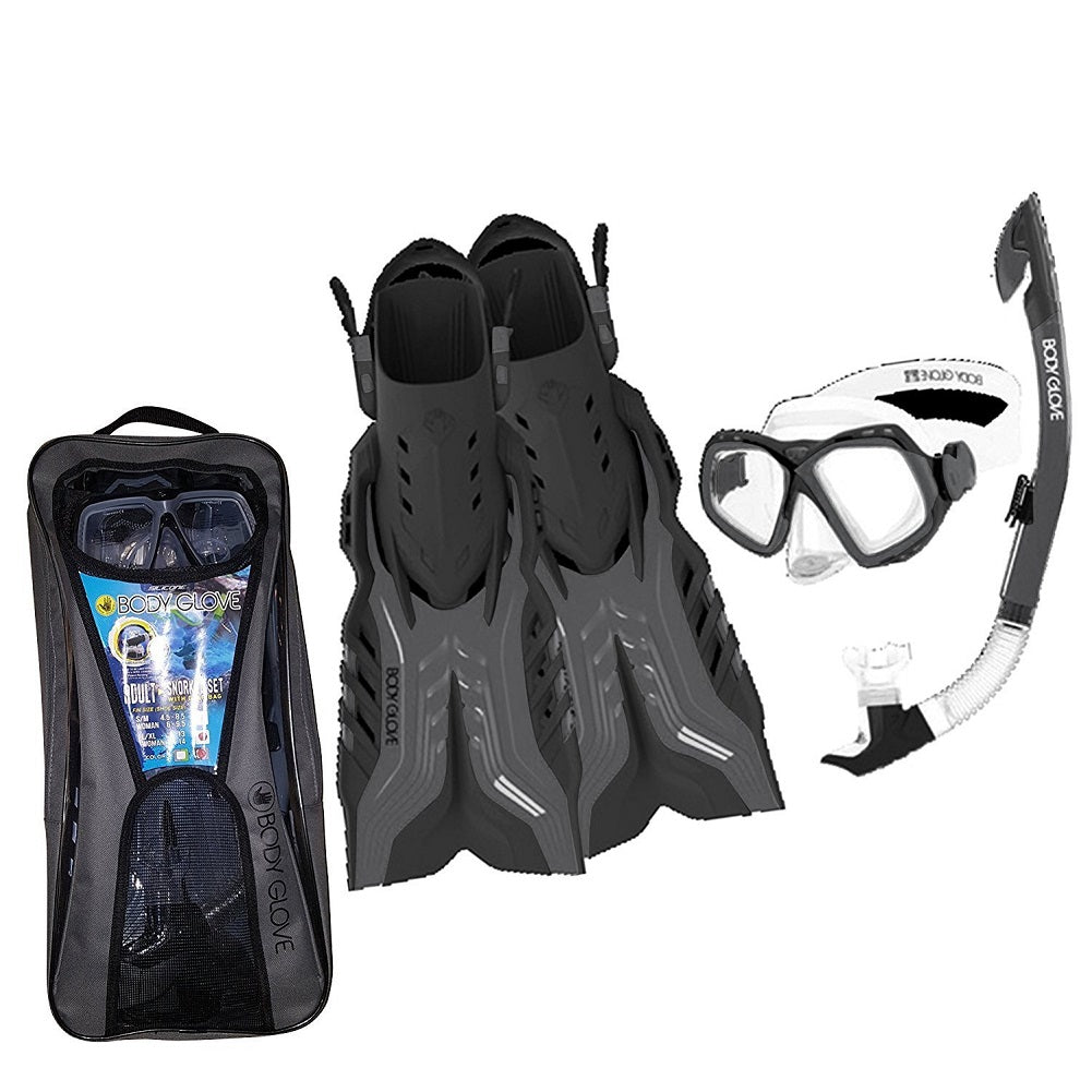 Body Glove Adult Snorkeling Set with Go Pro Mount, Black/Gray (Small/Medium)