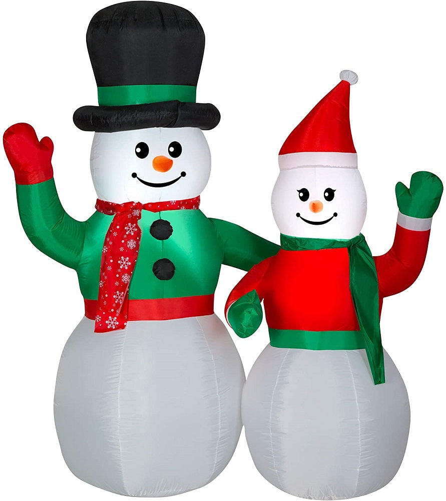 Home Accents Holiday 6.5 FT LED Snowman Couple Airblown Inflatable