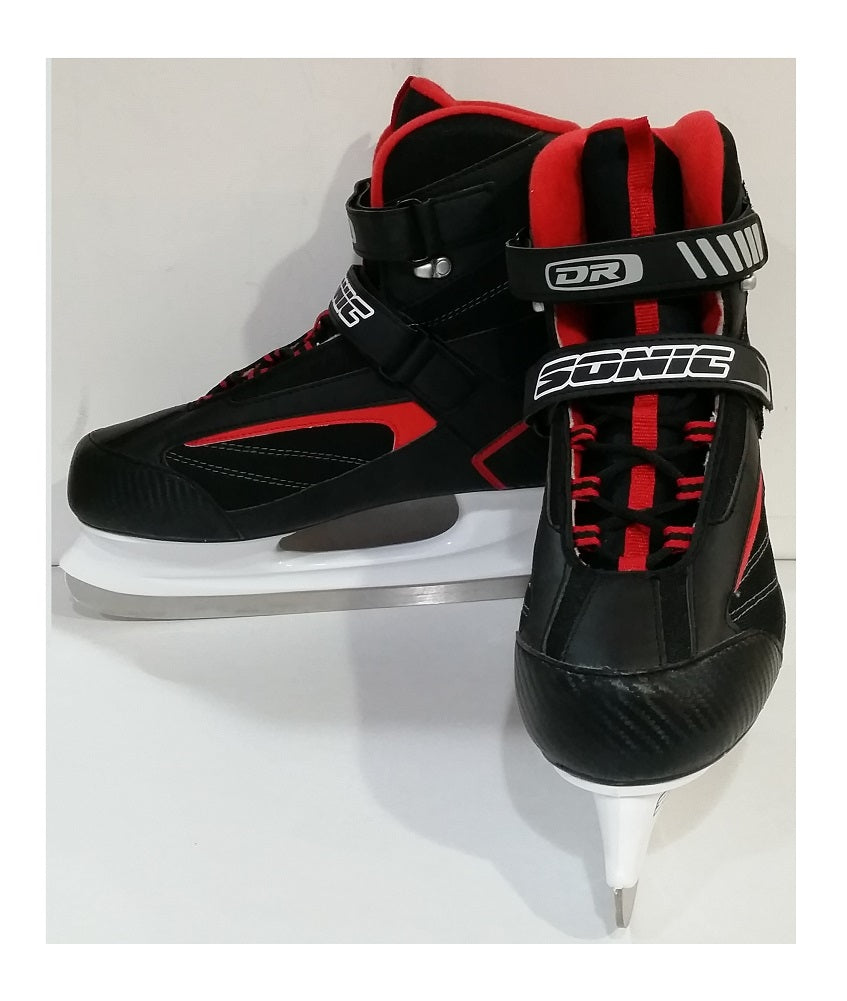 DR Sports Men's Softboot Ice Hockey Skate Black/Red, Size 11