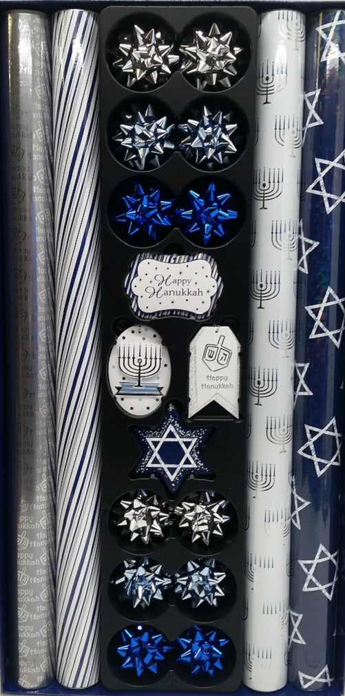 Tom Smith Hanukkah Wrap with 12 Coordinating Tags & Bows