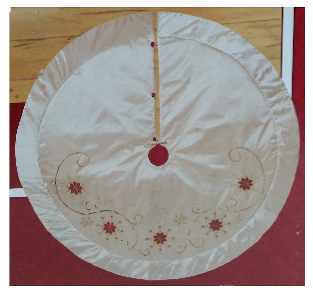 Adjustable Luxury Christmas Tree Skirt, Gold with Red and Gold Snowflakes