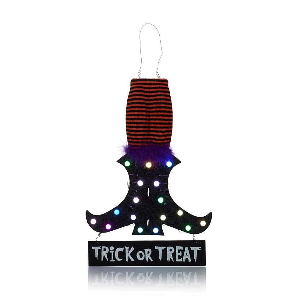 Halloween Color-Changing Witch Shoe Trick-or-Treat Sign Decoration