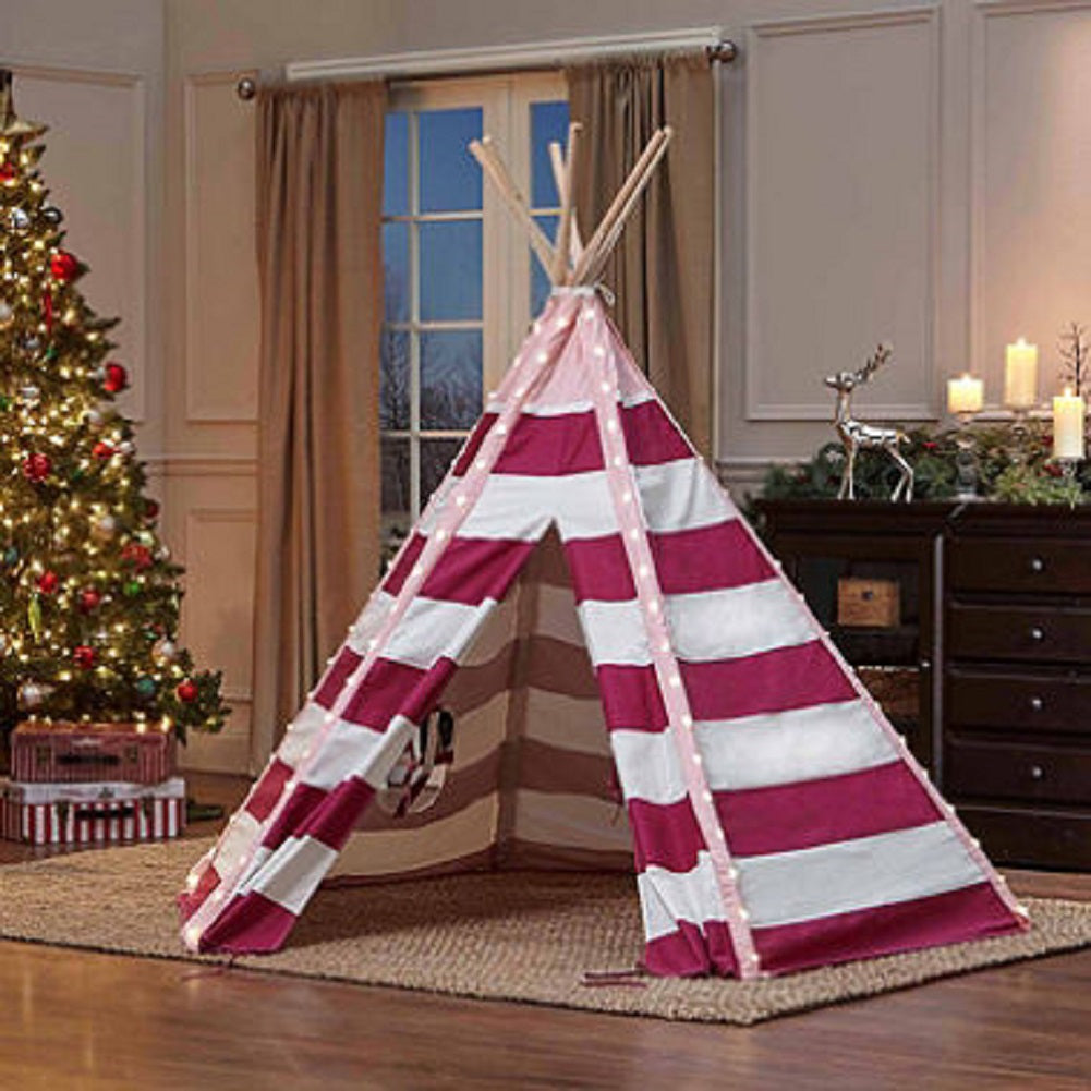 TurtlePlay Kid's Pink Stripe 6 FT Tall LED Teepee