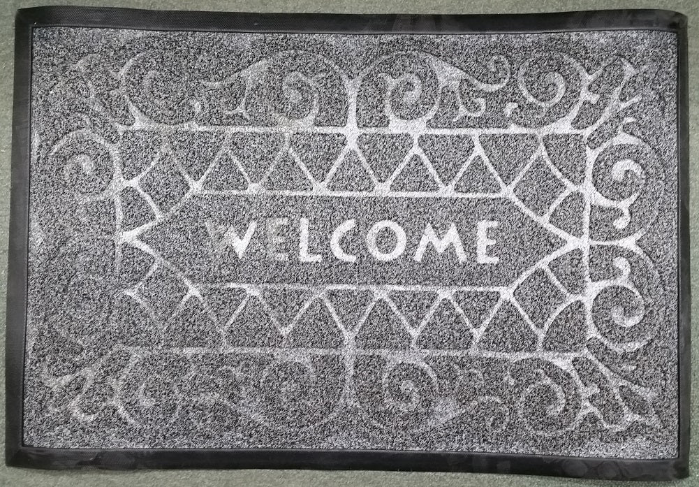 "Heavy Duty Indoor/Outdoor ""Welcome"" Entrance Floor Mat Shoe Scraper, Grey"