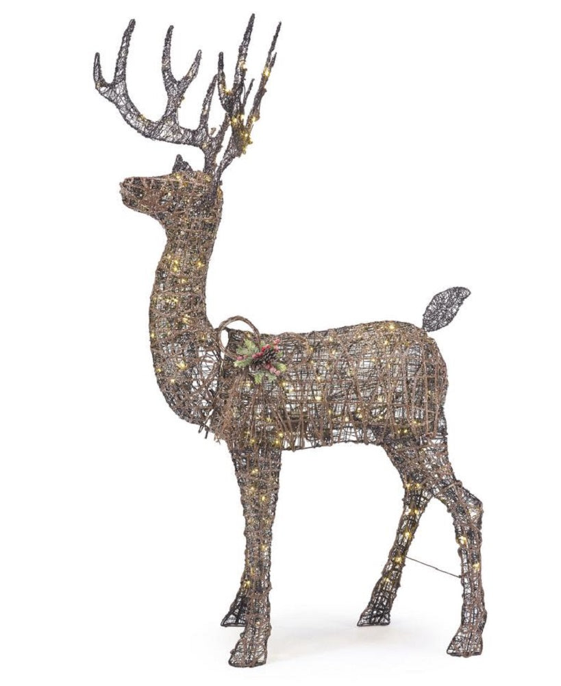 Home Accents Holiday 5.5 ft Meadow Frost Animated LED Brown Deer