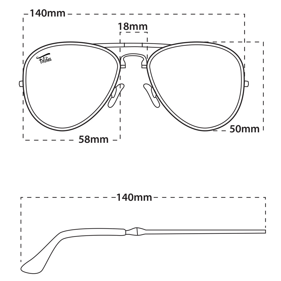 Foldies Aviators Size Guide