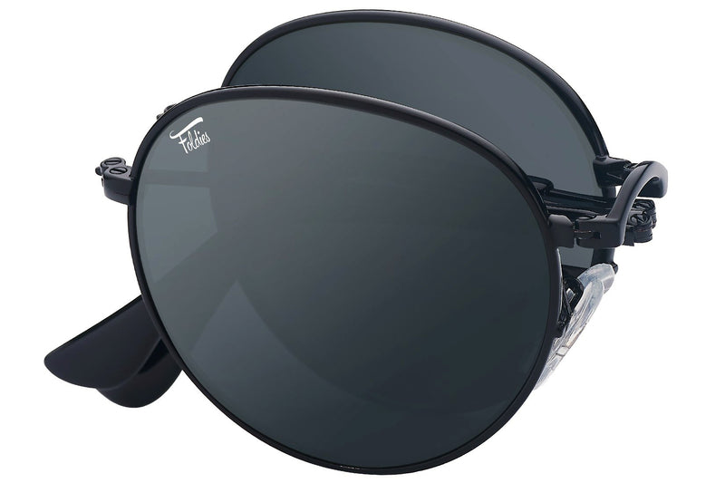 Foldies Black with Polarized Black Lens Folding Rounds | Black / Black Lens