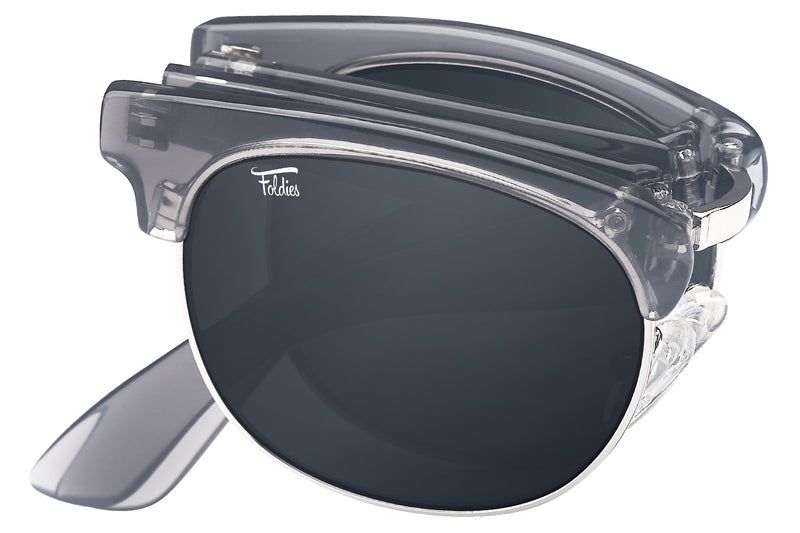Foldies Clear Gray with Polarized Black Lens Folding Browlines | Clear Gray / Black Lens