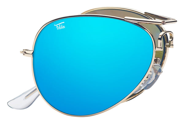 Foldies Gold with Polarized Blue Mirror Lens Folding Aviators | Gold / Blue Mirror